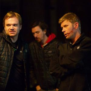 Zeke Hawkins Simon Hawkins and Mark Pellegrino on the set of We Gotta Get Out of This Place