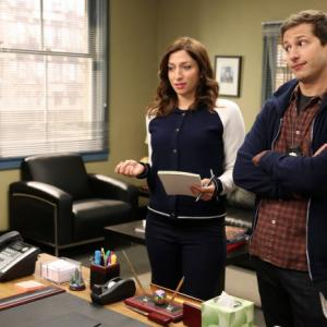 Still of Andy Samberg and Chelsea Peretti in Brooklyn NineNine 2013