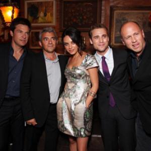 Jason Bateman, Mila Kunis, Mike Judge, Dustin Milligan and Daniel Battsek at event of Extract (2009)