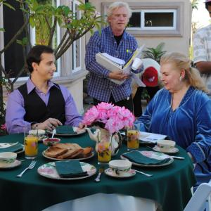 Michael Donahue watches actors Eddy Salazar Will Hart and Inge Jaklin Hattie Pin rehearse a scene for The Extra