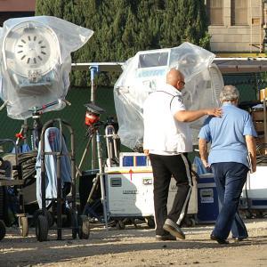 Edward Bass on the set of Bobby.