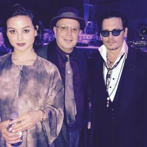 Edward Bass with Johnny Depp and Sara Von Kienegger