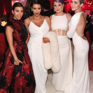 Kelly Osbourne, Miley Cyrus, Kourtney Kardashian and Kim Kardashian West