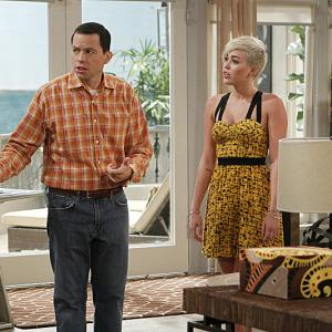 Still of Jon Cryer and Miley Cyrus in Two and a Half Men (2003)