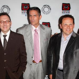 Jim Caviezel, Kevin Chapman, Michael Emerson, Jonathan Nolan and Greg Plageman at event of Person of Interest (2011)