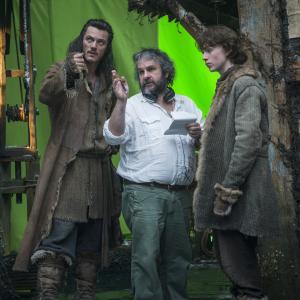Peter Jackson, Luke Evans and John Bell in Hobitas: Smogo dykyne (2013)