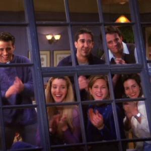 Still of Jennifer Aniston, Courteney Cox, Lisa Kudrow, Matt LeBlanc, Matthew Perry and David Schwimmer in Draugai (1994)