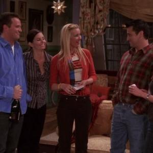 Still of Jennifer Aniston, Courteney Cox, Lisa Kudrow, Matt LeBlanc and Matthew Perry in Draugai (1994)