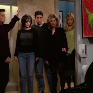Still of Jennifer Aniston, Courteney Cox, Lisa Kudrow, Matt LeBlanc and David Schwimmer in Draugai (1994)