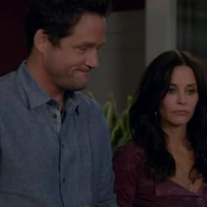 Still of Courteney Cox and Josh Hopkins in Cougar Town (2009)