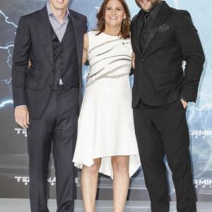 Dana Goldberg David Ellison and Jai Courtney at event of Terminator Genisys 2015