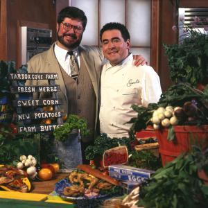 Food Network VP Steven Jon Whritner and Emeril Lagasse on the set of Emeril Live