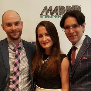 Andrew Johnston, Kathleen Davison, and Jayson Simba at the Madrid International Film Festival