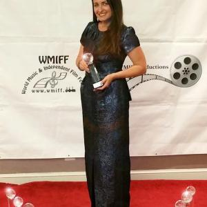 Kathleen Davison at the World Music Independent Film Festival, Washington, D.C., with the 12 collective wins for her films, Primrose Lane and Effloresce