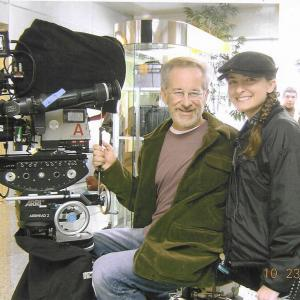 Kathleen Davison learning from one of the best -- on the set of The Terminal with Steven Spielberg