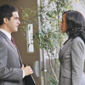 Dan Gordon as Nelson OShea opposite Kerry Washington as Olivia Pope in Scandal on ABC Episode Crash and Burn