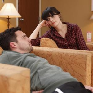 Still of Zooey Deschanel and Jake Johnson in New Girl 2011