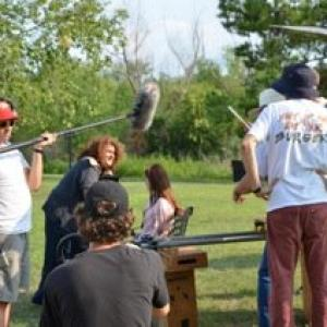 Linda in a Supporting Role as the homeless woman,shooting a scene with Alexis Raich on Helen Alone, starring Daniel Baldwin