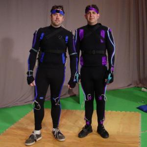Brian McCulley and John Crockett in motion capture suits for VFunny