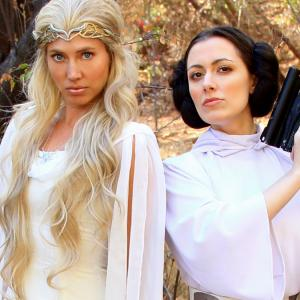 Whitney Avalon right as Leia with Sara Erikson as Galadriel in the second Princess Rap Battle which Avalon also wrote and produced along with Steve Gossett