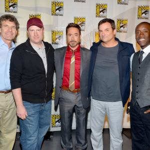 Don Cheadle Robert Downey Jr Shane Black Kevin Feige and Alan Horn at event of Gelezinis zmogus 3 2013