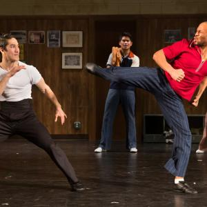 Emmanuel Brown fighting Cole Horibe in the play KUNG FU at the Signature Theatre