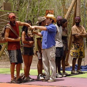 Still of Jeff Probst Stacy Kimball Cassandra Franklin YauMan Chan Earl Cole Andria Herd and Kenward Bernis in Survivor I Wanna See if I Can Make a Deal 2007