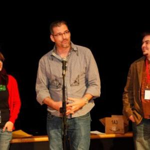 Accepting the Best Acting award at the Project 21 Film festival in Philadelphia, PA.