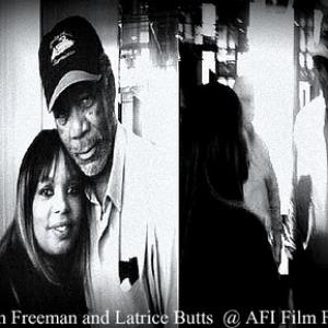 Latrice Butts pictured with Actor Morgan Freeman @ the AFI Film Festival.