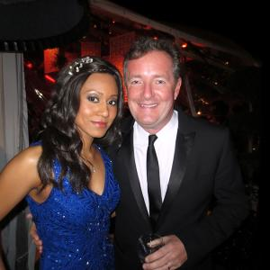 Vaja  Piers Morgan at the Weinstein Golden Globes After Party Dress Sue Wong  Purse Madeline Beth  Makeup Cover FX