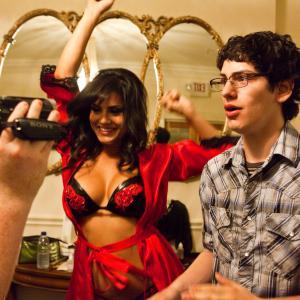 Still of Sunny Leone and Matt Bennett in The Virginity Hit 2010