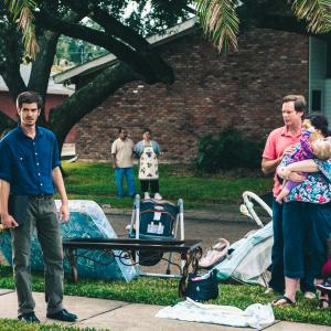 Still of J.D. Evermore, Ann Mahoney and Andrew Garfield in 99 Homes (2014)