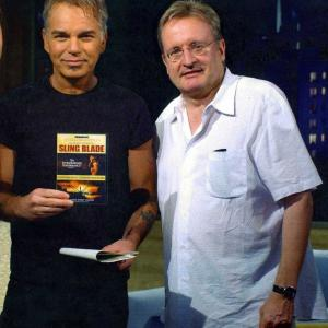 Billy Bob Thornton and John Davies on MOVIE CLUB set