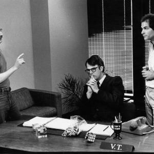John Davies, Dan Aykroyd & John Kapelos on set of V.T. The Video Tape