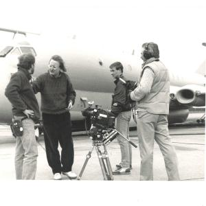 John Davies directing THE FIRST JETLINER in Scotland for PBS