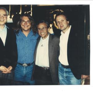 Producers Howard West, Bob Zmuda, George Shapiro, John Davies on set of NBC's Andy Kaufman Special