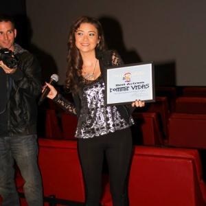 Tommie accepting her award for Best Actress at Pollygrind Film Festival 2014