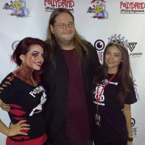 Tommie Vegas with Pollygrind Film Festival founder and creator, Chad Clinton Freeman and Corinne Garfield after being crowned Pollygrind Queen!