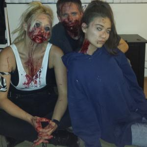Tommie Vegas alongside Shane Ryan and Kathryn Eastwood after a long day on set filming,