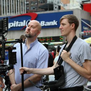 Jeremy Snead and camera operator Kevin Clancy at Madison Square Garden event for Unlocked The World Of Games Revealed