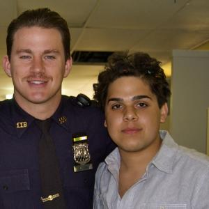 Ralph Rodriguez with Channing Tatum on set of