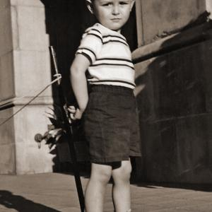 At age 3 on Wilshire Boulevard, photographed by famed photographer William Banks.