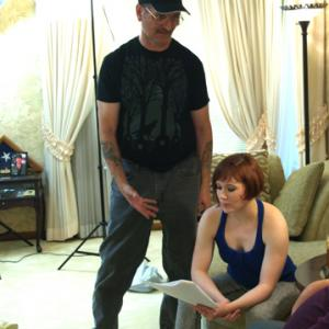 Directing actress Heather Hermann in a scene from