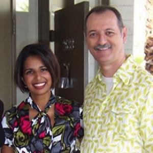 With Tina Patel of Q13 Fox News, Seattle, Washington wearing Trina Turk fashions at Palm Springs Fashion Night.