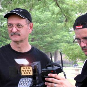 With cinematographer Mike Burvado in San Antonio, Texas, 2010.