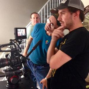 Evan Farber, (executive producer), R. Christian Anderson (director) and Clayton Moore (cinematographer) on the set of