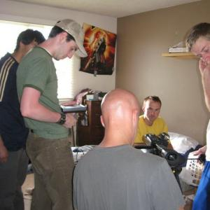 Brenden on set of a Student Film Immaculate Misperceptions with Director Steve Green  DP David Westphall
