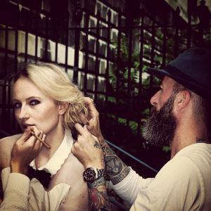 Behind the scenes of shoot with Tom Fraud, hair by Diego Miranda