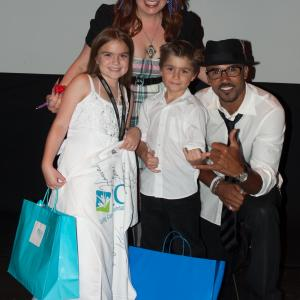 HannaH Eisenmann & Stone Eisenmann with Kirsten Vangness and Shemar Moore at the Premiere of their film they all star in together,
