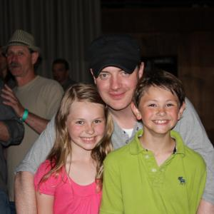Landon and Gabby Brooks with Brendan Fraser at the Extraordinary Measures wrap party